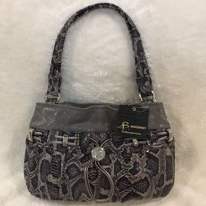 NWT B. Makowsky Gray Snakeskin Shoulder Bag